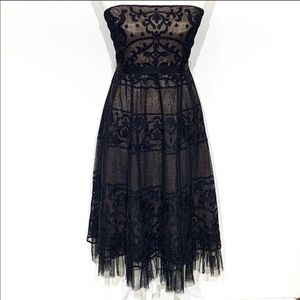 BCBGMaxAzria Strapless Lace Illusion Dress Sz 6
